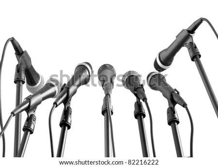 microphones isolated in white