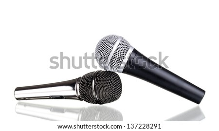 microphones isolated on a white background - stock photo