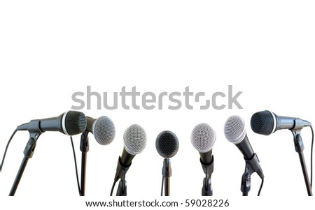 microphones isolated on white - stock photo