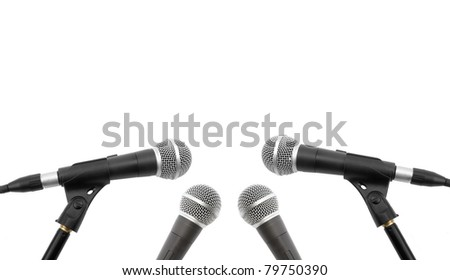 microphones on a white background