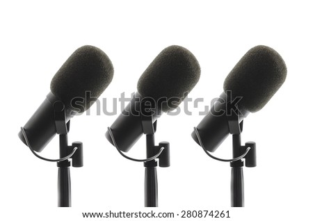 Microphones on white background