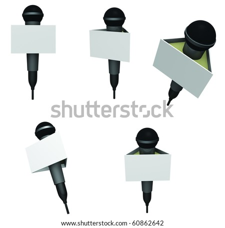 Microphones with news media flas shown in different angles and isolated on white - stock photo