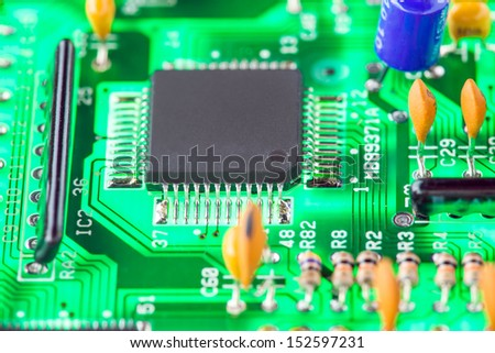microprocessor and other electronic components mounted on motherboard - stock photo