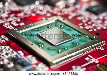Microprocessor macro shot - stock photo