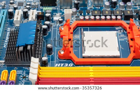 Microprocessor, slots for memory, capacitors, system of the cooling