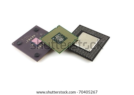Microprocessors over white.