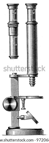 microscope - an illustration of the encyclopedia publishers Education, St. Petersburg, Russian Empire, 1896 - stock photo