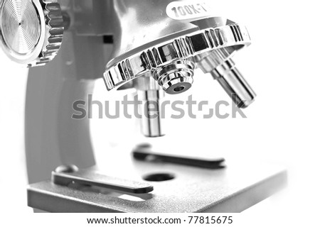 microscope black and white close up - stock photo