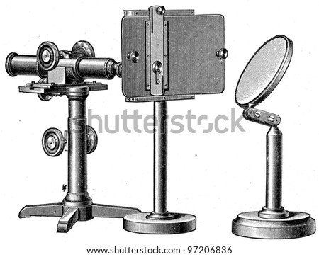 microscope for the aquarium - an illustration of the encyclopedia publishers Education, St. Petersburg, Russian Empire, 1896 - stock photo