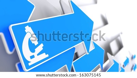 Microscope Icon on Blue Arrow on a Grey Background. Science Concept. - stock photo