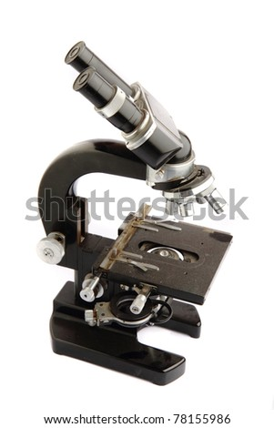 microscope isolated on the white background - stock photo