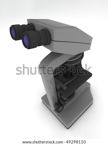 microscope isolated on white - stock photo