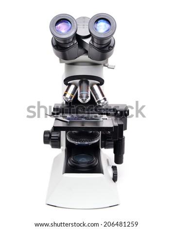 microscope isolated on white background - stock photo