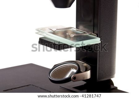 microscope isolated on white background - stock photo