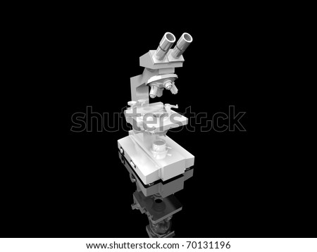 Microscope on black background