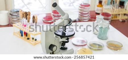 Microscope, Petri dishes and test tubes on a table in a medical laboratory. Medical tests and research. Hospital laboratory glassware - stock photo