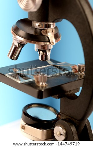 Microscope with a empty slide - stock photo