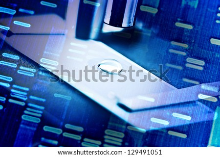 Microscope with biological materia and DNA fingerprints. - stock photo