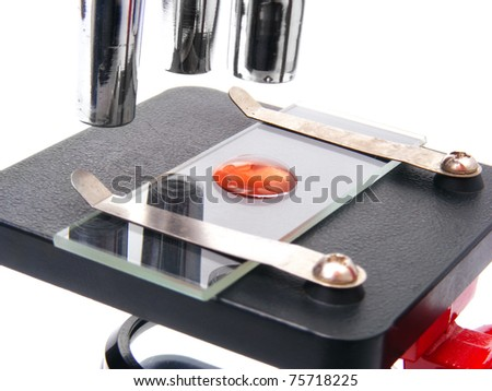 Microscope with biological material - stock photo