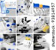 Microscopes in modern research environment, collage - stock photo