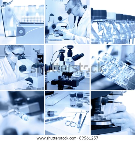 Microscopes in the modern research laboratory, collage in black and white - stock photo