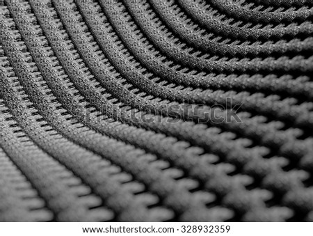 Microscopic close up of blue woven fabric or fibers showing the individual weaves of the cotton or wool fabric. Camera with strong depth of field. Background or texture.