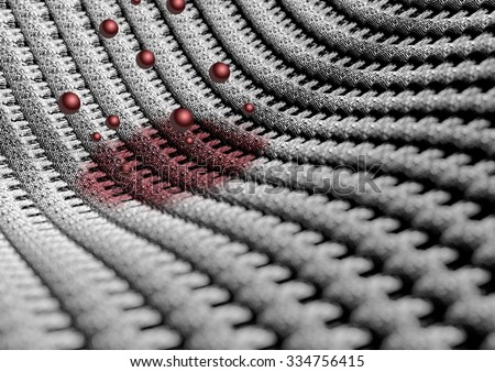 Microscopic close up of fabric or fibers with wine or blood stain. showing the individual weaves of the cotton or wool fabric. Camera with strong depth of field. Background or texture. - stock photo