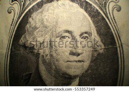 Microscopic view of George Washington as seen on the American One Dollar Bill bank note. Photographed through a Microscope for close up details.
