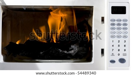 Microwave is broken filled hot flame