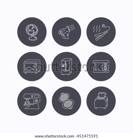 Microwave oven, hair dryer and blender icons. Refrigerator fridge, coffee maker and toaster linear signs. Ventilator, curling iron and waffle-iron icons. Flat icons in circle buttons on white.