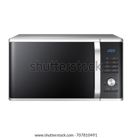 Microwave Oven Isolated on a White Background. Front View of Stainless Steel Over-the-Range Microwave Oven.