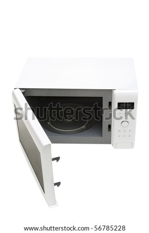 Microwave oven isolated on white - stock photo