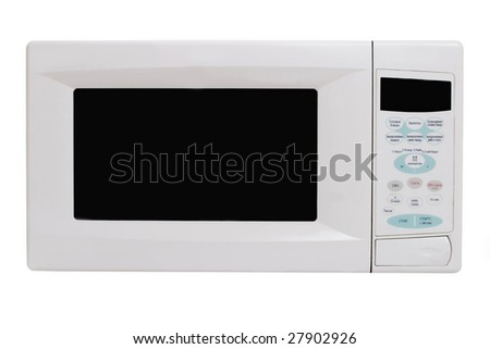 microwave oven isolated (Russian text on buttons) - stock photo
