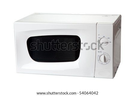 microwave oven on white background - stock photo