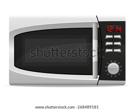 microwave oven with electronically controlled illustration isolated on white background - stock photo