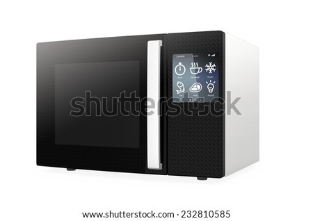 Microwave oven with touch screen isolated on white background. - stock photo