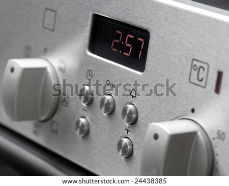Microwave stove control close-up - stock photo