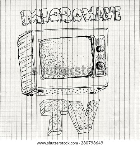 Microwave TV device, funny hand drawn illustration on checkered paper texture exposing and criticizing unhealthy style of life - stock photo