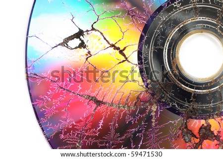 Microwaved CD-ROM - stock photo
