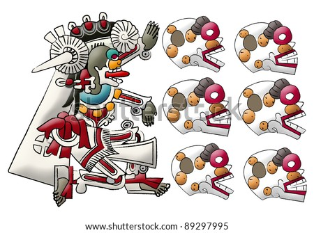 Mictlan - mayan - aztec deity, lord of underworld and skulls - stock photo