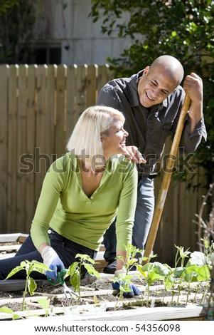 Mid-adult couple working on vegetable garden together in backyard