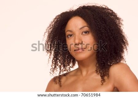 Mid adult ethnic woman of mixed racial background African-American and Latina - stock photo