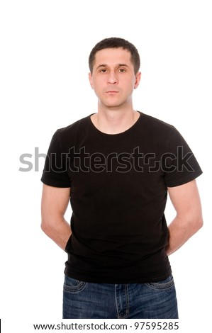 mid adult man in the black t-shirt isolated on white background - stock photo