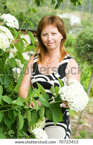Mid adult woman gardener with  hydrangea in summer - stock photo