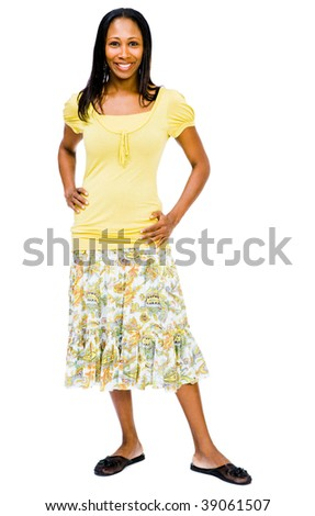 Mid adult woman posing and smiling isolated over white