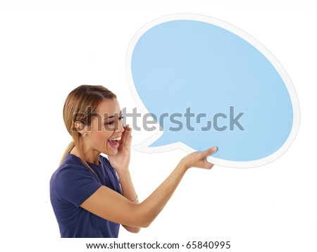 mid adult woman screaming in blank speech bubble on white background. Horizontal shape, side view, waist up, copy space