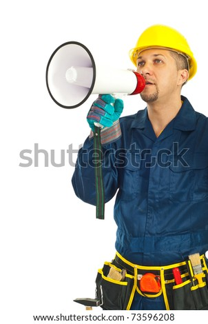 Mid adult worker man shouting through megaphone over white background - stock photo