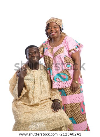 Mid Age African American Couple Wearing Colorful Costume Closeup Happy Portrait Isolated on White Background - stock photo