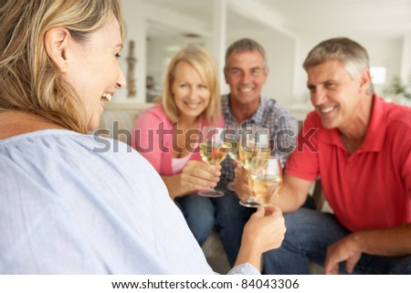Mid age couples drinking together at home - stock photo