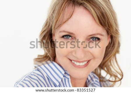 Mid age woman head and shoulders - stock photo
